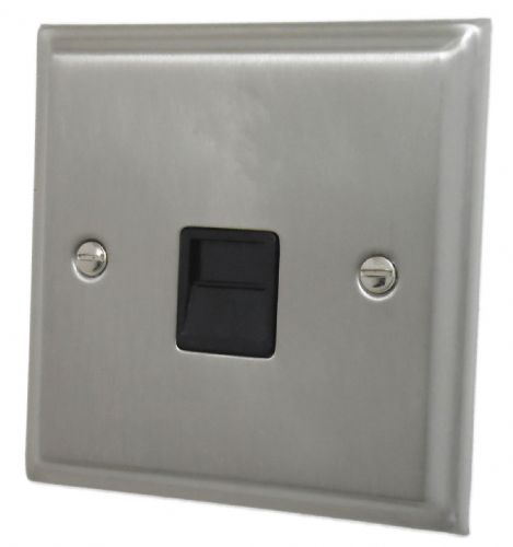 G&H DSN34B Deco Plate Satin Nickel 1 Gang Slave BT Telephone Socket